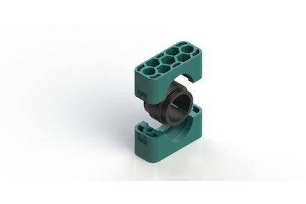 Polypropyleen Groen Leidingbeugels Standaard Serie Twee Leidingbeugelhelften met geluidsdempende rubber inlage DIN 3015-1 product photo