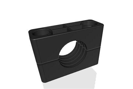 TPE Zwart Leidingbeugels Zware Serie Twee Leidingbeugelhelften met geribbelde binnenzijde DIN 3015-2 product photo