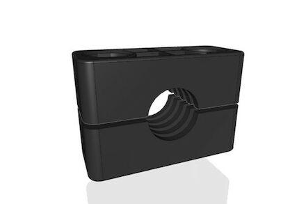 Polyamide Zwart Leidingbeugels Zware Serie Twee Leidingbeugelhelften met geribbelde binnenzijde DIN 3015-2 product photo