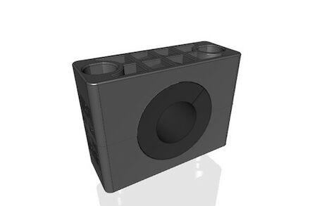 Polyamide Zwart Leidingbeugels Zware Serie Twee Leidingbeugelhelften met geluidsdempende rubber inlage DIN 3015-2 product photo