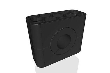 Polyamide Zwart Leidingbeugels Standaard Serie Twee Leidingbeugelhelften met geluidsdempende rubber inlage DIN 3015-1 product photo