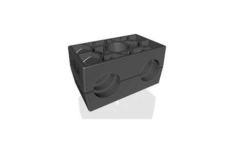 Polyamide Zwart Leidingbeugels Dubbel Serie Twee Leidingbeugelhelften met geribbelde binnenzijde dubbel DIN 3015-3 product photo