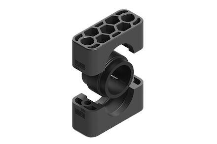 Polypropyleen Zwart Leidingbeugels Standaard Serie Twee Leidingbeugelhelften met geluidsdempende rubber inlage DIN 3015-1 product photo