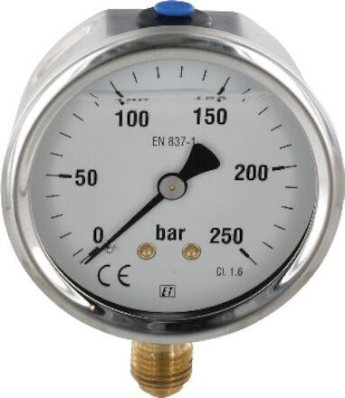 Manomètre à bain de glycérine, diamètre 63, piquage 1/4 vertical photo du produit