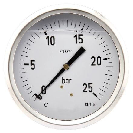 Pressure gauge 100mm SS body, Glycerine filled, centre back entry product photo