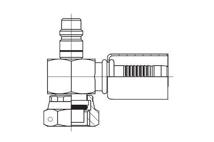 Refrigeration Hose Fitting - SHORT VERSION O-RING FEMALE WITH LOW PRESSURE VALVE photo du produit