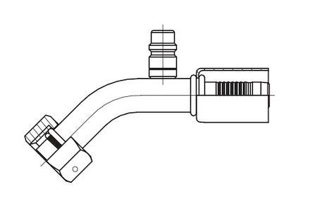 Refrigeration Hose Fitting - O-RING FEMALE WITH LOW PRESSURE VALVE 45° ELBOW photo du produit