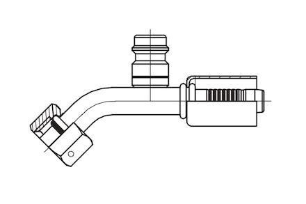 Refrigeration Hose Fitting - O-RING FEMALE WITH HIGH PRESSURE VALVE 45° ELBOW photo du produit