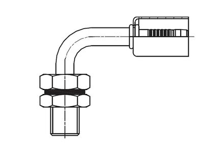Refrigeration Hose Fitting - MALE WITH O-RING SEAT WITH COUNTER NUT AND Q-RING 90° ELBOW product photo