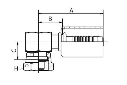 Refrigeration Hose Fitting - SHORT VERSION O-RING FEMALE product photo