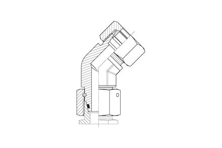 Złączka do Rur Metrycznych 24° DIN 2353 - 45° KOLANKO Nastawne- seria Ciężka product photo