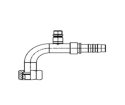 Refrigeration Hose Fitting - O-RING FEMALE 90° ELBOW WITH LOW PRESSURE VALVE