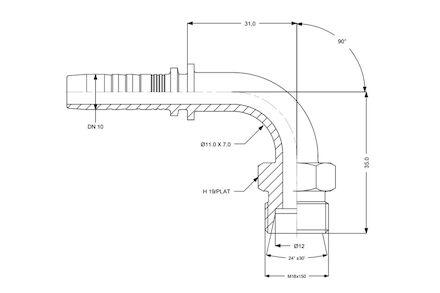 Hydraulic Hose Insert - 90° METRIC MALE 24° CONE SEAT LIGHT DUTY CEL photo du produit