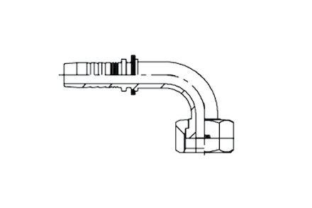 No-skive slangpilaar - 90° gebogen koppeling ORFS Binnendraad ORFSF product photo