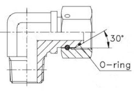 Adapteur femelle BSP - mâle gaz conique (whitworth) à 90° photo du produit