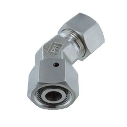 Stainless Cutting Ring Tube Coupling 24° - Adjustable Stud Elbows - 45° - With Taper and O-ring - Viton - Heavy type photo du produit