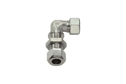 Stainless Bulkhead Elbow Tube coupling - Light series with Silver coated nuts product photo