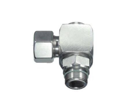 Stainless Rotary Elbow Tube Coupling - BSP Parallel and Viton soft seal and Silver coated nut product photo