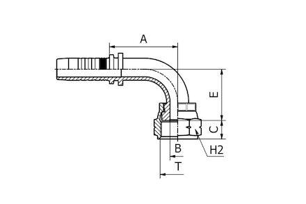 Hydraulic Hose Insert - 90° ORFS FEMALE SWEPT ELBOW ORFSF - KR photo du produit