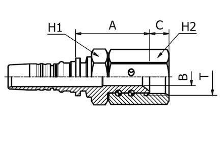 Double skive (Interlock) Hydraulic Hose Insert, JIC FEMALE 37° CONE SEAT product photo