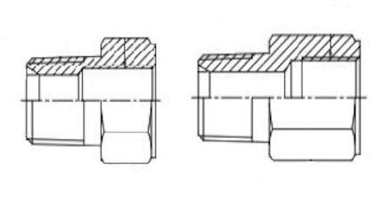 Adapteur mâle BSPCT grand 6 pans - femelle gaz cylindrique (whitworth) photo du produit