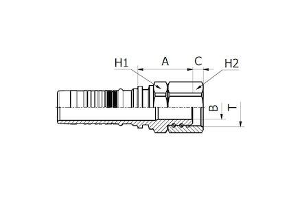 Double skive (Interlock Super) Hydraulic Hose Insert, BSP O-RING FEMALE 60° CONE product photo