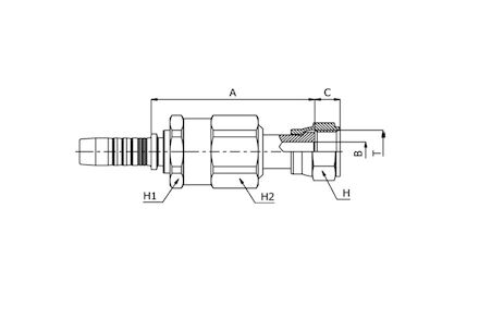 ORFS FEMALE - SAE J516 / ISO 12151-1 PULLBACK TYPE (CRIMPED BACK-NUT) product photo