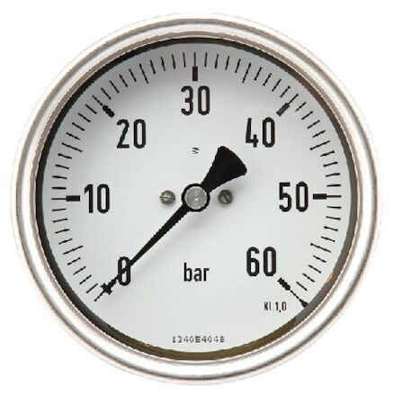 Pressure gauge 100mm SS body, Glycerine filled, centre back entry photo du produit