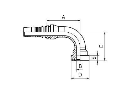 Hydraulická koncovka - vnitřní a vnější ořez (Interlock), 90° LONG DROP SUPERCAT SERIE FLANGE SFS-CAT product photo
