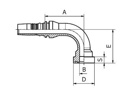 Double Skive (Interlock) Hydraulic Hose Insert, 90° LONG DROP SUPERCAT SERIES FLANGE SFS-CAT product photo