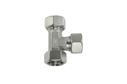 Stainless Tube Couplings 24 degrees DIN -Swivel Barrel Tee - Light type with silver coated nut product photo
