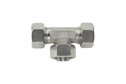 Stainless Tube Couplings 24 degrees DIN - Swivel Branch Tee - Light type with silver coated nut product photo