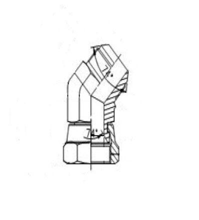 Hydraulic Adaptor - 45° Adjustable Elbow Adaptor male JIC to female JIC - with Swivel Nut product photo