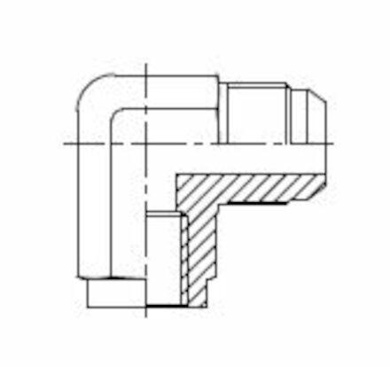 Adapteur mâle JIC -  femelle gaz cylindrique (whitworth) à 90° photo du produit