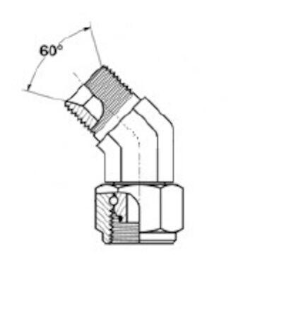 Adapteur mâle BSP - femelle BSP (whitworth) à 45° photo du produit