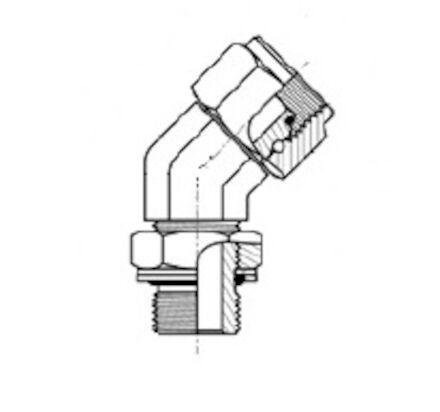 Adapteur femelle BSP - mâle gaz cylindrique (whitworth) à 45° photo du produit