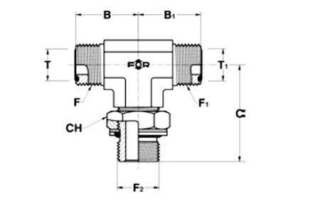 Té mâle JA (type ORFS) - mâle ISO photo du produit