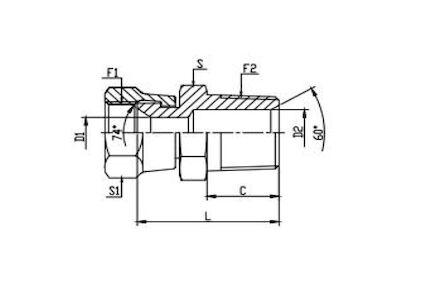 Adapter Hydrauliczny - Prosty MĘSKI BSPT na ŻEŃSKI JIC product photo