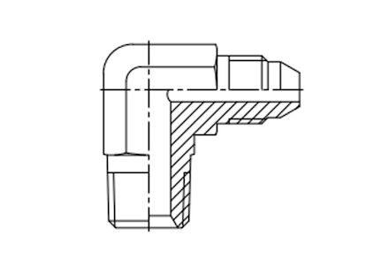Adaptors 90° elbow BSPT male - Metric JIS male product photo