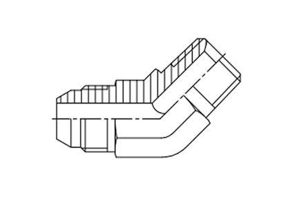 Adaptors 45° elbow BSPT male - Metric JIS male product photo