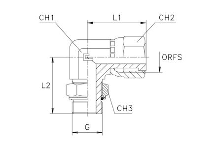 Adaptors 90° Elbow BSP male - ORFS female photo du produit