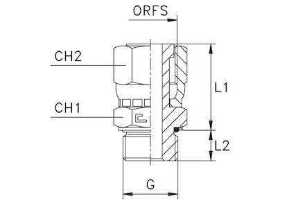 Adaptors Straight BSP male - ORFS female photo du produit