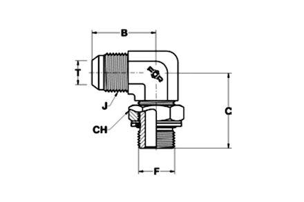 Adapteur mâle JIC - mâle DIN à 90° photo du produit