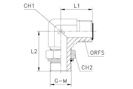 Adapteur mâle JA (type ORFS) - mâle ISO à 90° photo du produit