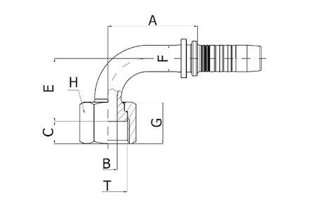 Hydraulic Hose Insert - 90° ORFS FEMALE SWEPT ELBOW ORFS product photo