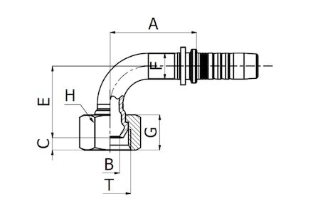 Hydraulic Hose Insert - 90° BSP FEMALE SWEPT ELBOW 60° CONE DKR product photo
