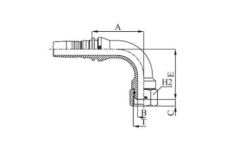 Interlock slangpilaar, 90° gebogen koppeling BSP O-ring Binnendraad 60° conus DKR product photo