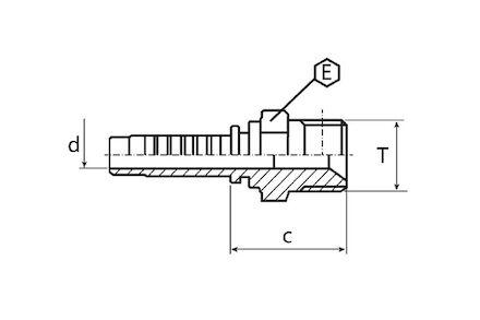 Embout mâle gaz conique grand 6 pans (whitworth) photo du produit