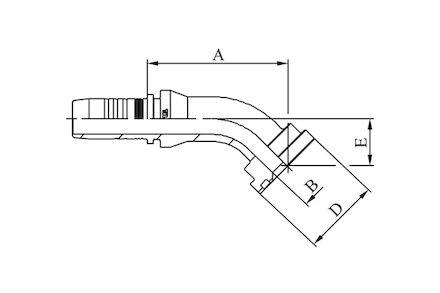 No-skive slangpilaar - 45° Komatsu flens SFS product photo