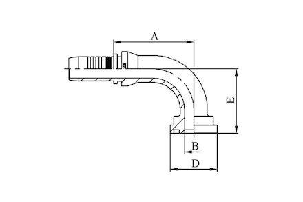 Hydraulická koncovka - 90° KOMATSU FLANGE SFSKOM product photo